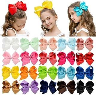 "DEEKA 20 PCS چند رنگ 6 ""دست ساخته شده نوار روبان Grosgrain کراوات آلیاژاتور کلیپ لوازم جانبی مو برای دختران کوچک"