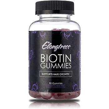 Biotina gomoso 5000mcg por porción de refuerzo crecimiento del cabello - 90 gomitas por botella - Biotina ayuda