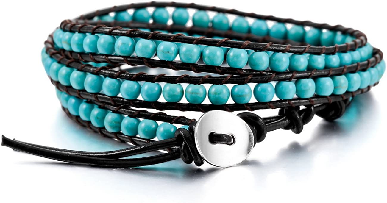 MOWOM Layered Bracelets for Women Men Boys Girls Genuine Leather Bracelet Rope Bangle Cuff Crystal Gemstone Bohemian Style & Beads Braided 3/5 Wraps Adjustable Handmade Jewelry Gifts