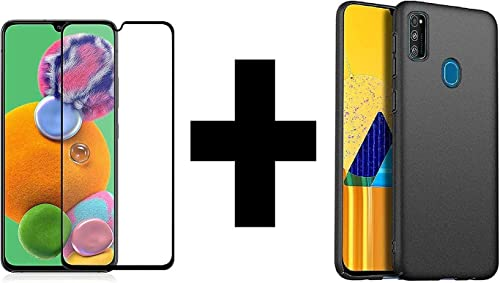 Lustree Pudding Back Cover Case And 5D Full Coverage Transparent Tempered Glass Combo Pack For Samsung Galaxy M21