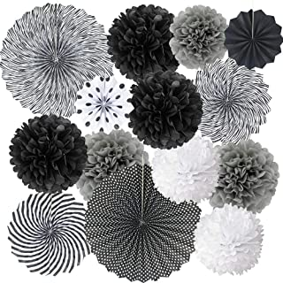 Black White Hanging Paper Party Decorations, Round Pattern Paper Fans Set with Tissue Paper Pom Poms Flower Balls for Hall...