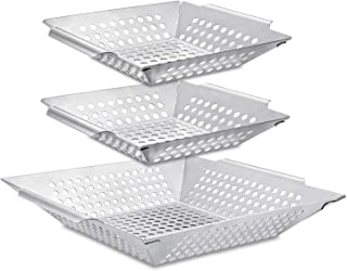 3 Pack Grill Basket Set,Grilling Wok for Vegetable, Kabob, Shrimp-Heavy Duty Stainless Steel BBQ Accessories, Fit All Grill