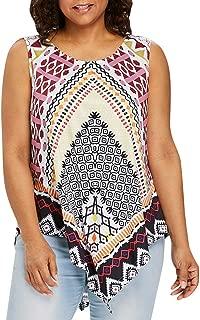 DADKA Womens Shirts Casual Print Irregularity O-Neck Tank Tops Blouse