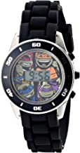 Ninja Turtles Kids' Digital Watch with Silver-Tone Casing, Flashing LED Lights, Black Strap - Official TMNT Characters on The Dial, Safe for Children - Model: TMN4005
