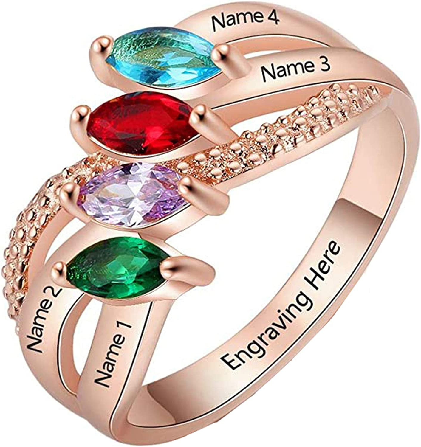 Custom Los Angeles Mall 40% OFF Cheap Sale Name Ring Personalized Birt Engraved Family 4