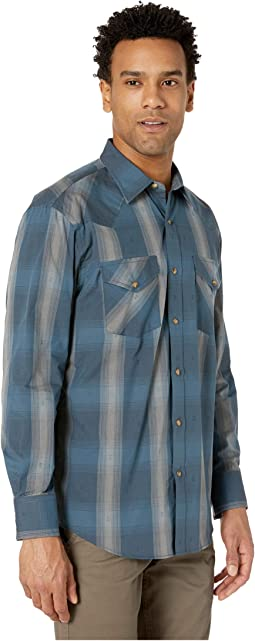 Blue/Grey Dobby Plaid
