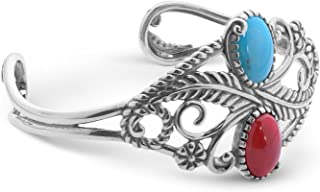 American West Sterling Silver Blue Turquoise and Red Coral Gemstone Leaf Cuff Bracelet Size Medium