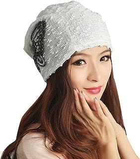 VESNIBA Women's Winter hat Lace Butterfly Beanie Lady Skullies Turban Cap