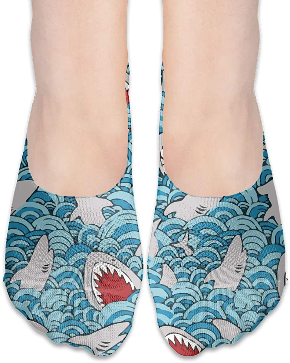 No Show Socks Women Men For Shark Attack Funny Flats Cotton Ultra Low Cut Liner Socks Non Slip