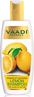 Lemon with Tea Tree Extract Shampoo Dandruff Defense ALL Natural Paraben Sulfate Free Scalp Therapy Moisture Therapy Suitable for All Hair Types - 11.8 Oz - Vaadi Herbals