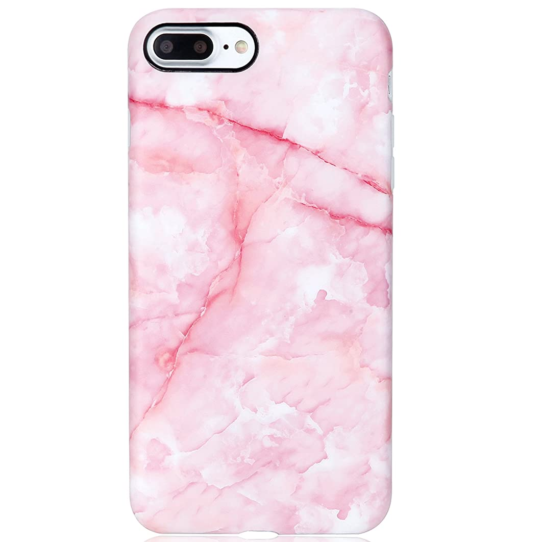 Marble iPhone 7 Plus Case Pink for Girls,iPhone 8 Plus Case,VIVIBIN Shock Absorption Matte TPU Soft Rubber Silicone Cover Phone Case for iPhone 7 Plus/8 Plus 5.5inch