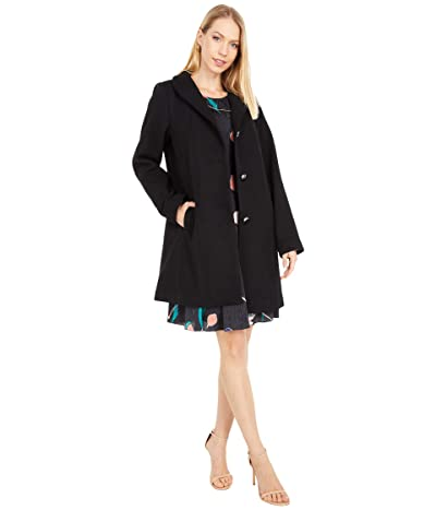 Kate Spade New York Single Breasted Wool Twill Coat (Black) Women