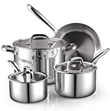 Cook N Home 7-Piece Tri-Ply Clad Stainless Steel Cookware Set, Silver,2644