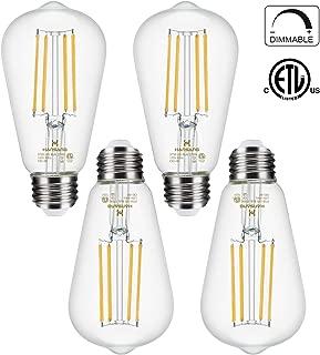 Dimmable LED Edison Bulb E26 Base 60 Watt Equivalent 2700K Warm White Filament Light Bulb 800Lm High CRI Clear Brightness Vintage Bulb for Pendant Lamp 4-Pack …