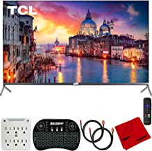 TCL 55R625 55-inch 6-Series 4K QLED UHD HDR Roku Smart TV (2019) Bundle with 2X Deco Gear HDMI Cable, Wireless Keyboard, Microfiber Cleaning Cloth and 6-Outlet Surge Adapter with Night Light