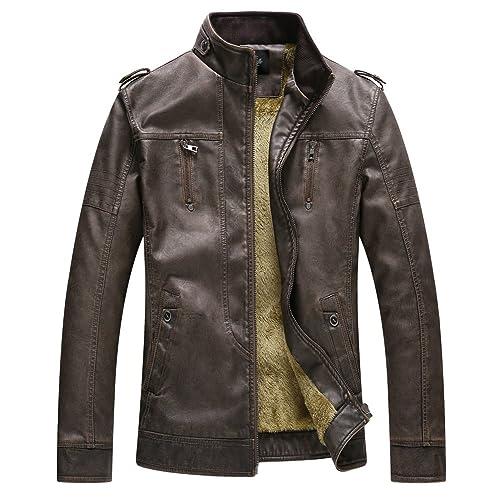 a0a0a9290cf Zicac Mens  Thicken Pu Leather Jacket Autumn Winter Warm Fleece Lined  Zipped Slim Fit Biker