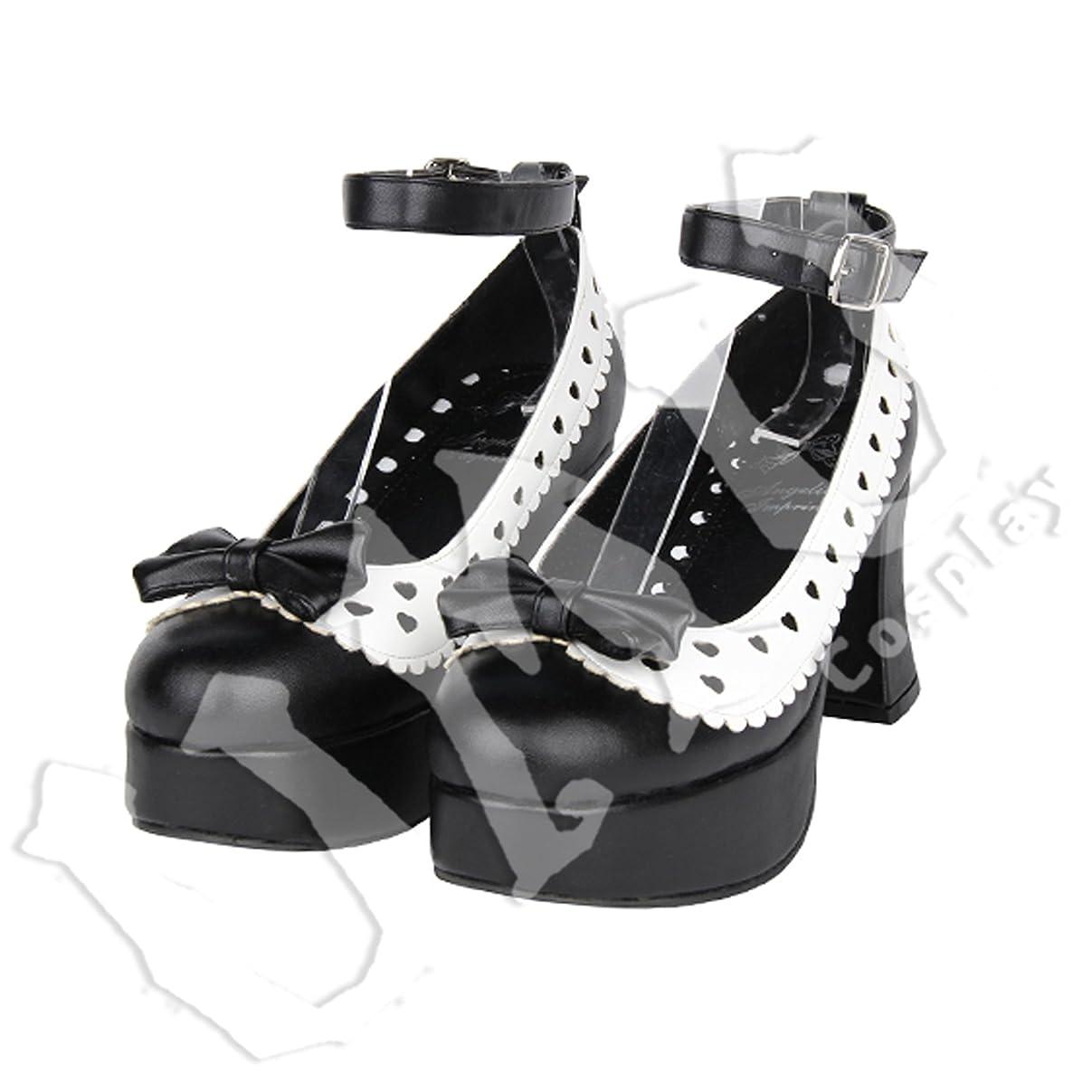 石炭市区町村薄い【UMU】 LOLITA ロリータ リトルハート モノクロ リボン 風 靴 ブーツ ブーティ オーダーメイド(ヒール高、材質、靴色は変更可能!) (足23cm)