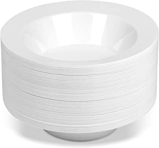 50 Large Disposable White Plastic Soup Bowls   14 oz. Premium Heavy Duty Disposable Dinnerware with Real China Design (50-Pack) by Bloomingoods