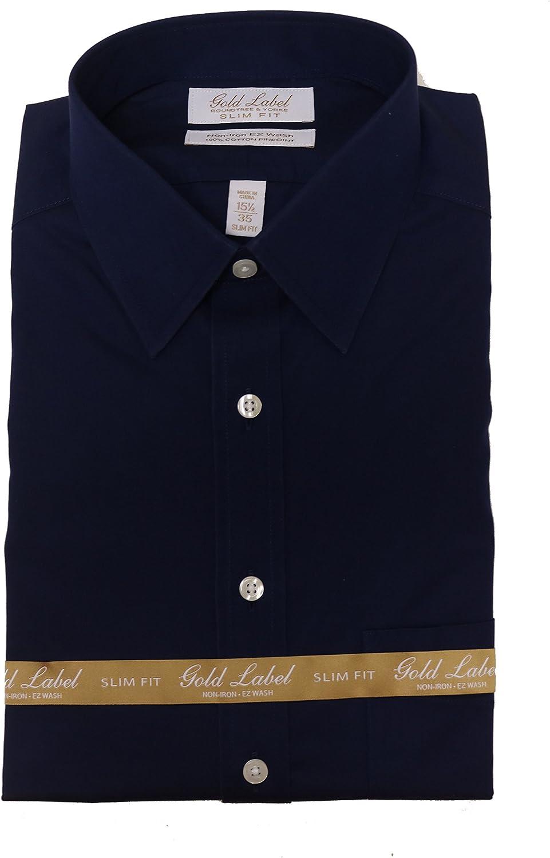 Gold Label Roundtree & Yorke Non Iron Slim Fit Point Collar Dress Shirt S75DG352 Navy