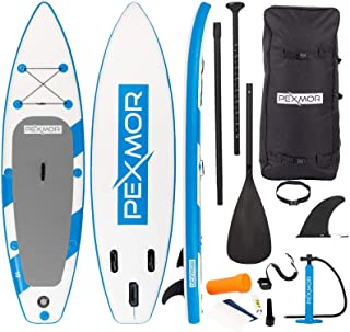 PEXMOR 10' Inflatable Stand Up Paddle Board (6 Inches Thick) with SUP Accessories & Carry Bag | Wide Stance, Bottom Fin fo...