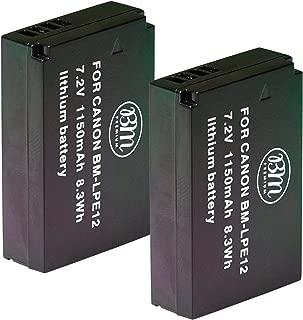 BM Premium 2-Pack of LP-E12 Batteries for Canon SX70 HS, Rebel SL1, EOS-M, EOS M2, EOS M10, EOS M50, EOS M100 Mirrorless Digital Camera
