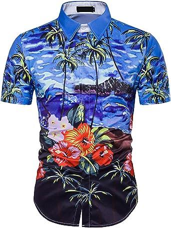 Camisa Hawaiana Manga Corta para Hombre, Diseño de Palmeras y Flores Manga Corta para la Playa, Fiestas, Verano y Vacaciones