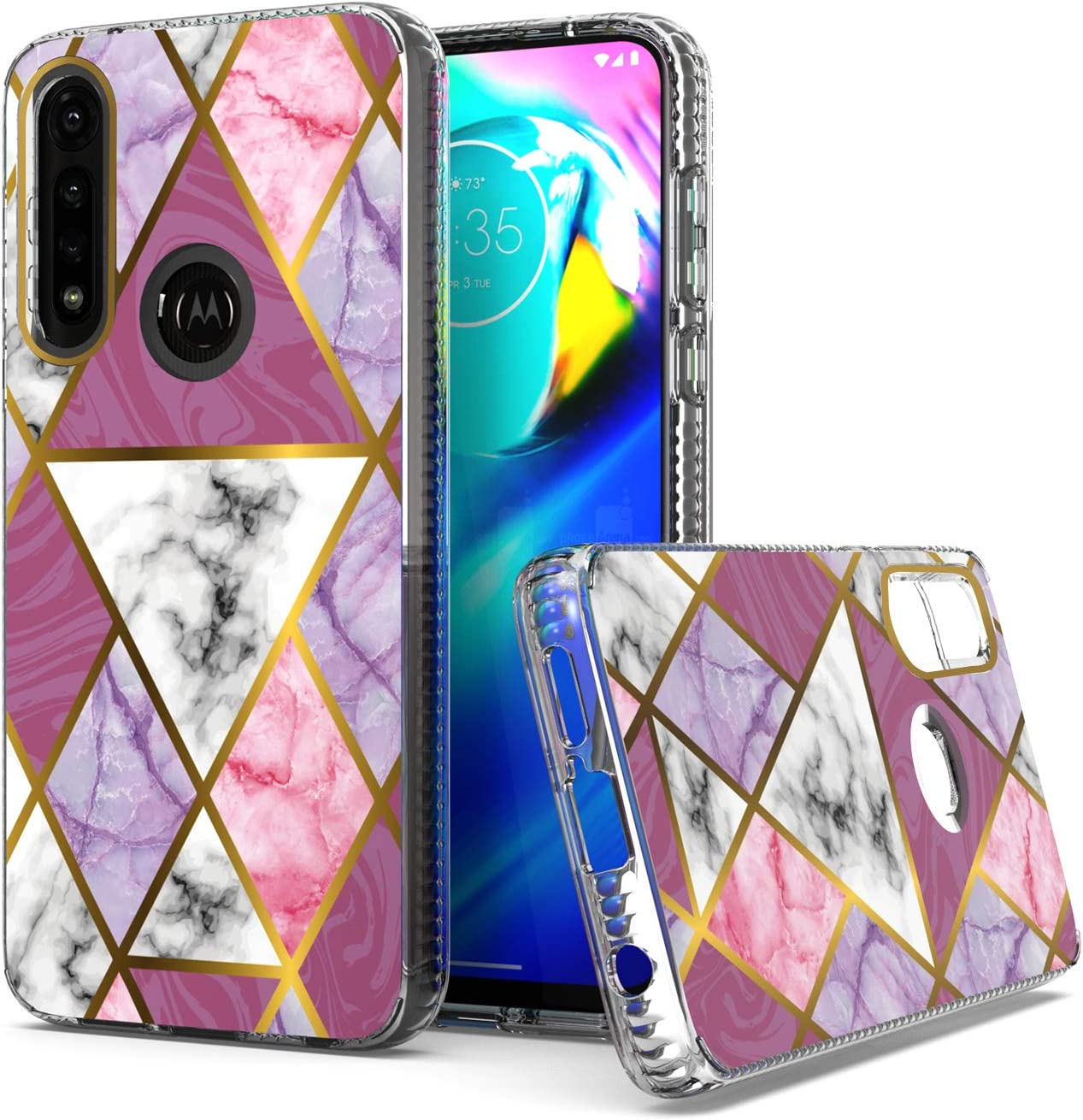 KWEICASE Cell Phone Case for Motorola Moto G Power 2020, Moto G Power Clear Shockproof Bumper Heavy Duty Hrbrid Hard Back Drop Protection Cover Case for Women Girls, Pink Geometric Marble