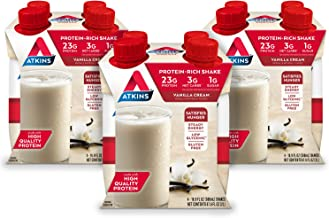 Atkins Meal Size Protein-Rich Shake, Vanilla Cream, Keto Friendly, 16.9 oz., 4 Count (Pack of 3)