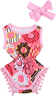 Cute Baby Girls Sleeveless Donut Tassel Romper Jumpsuit+Headband