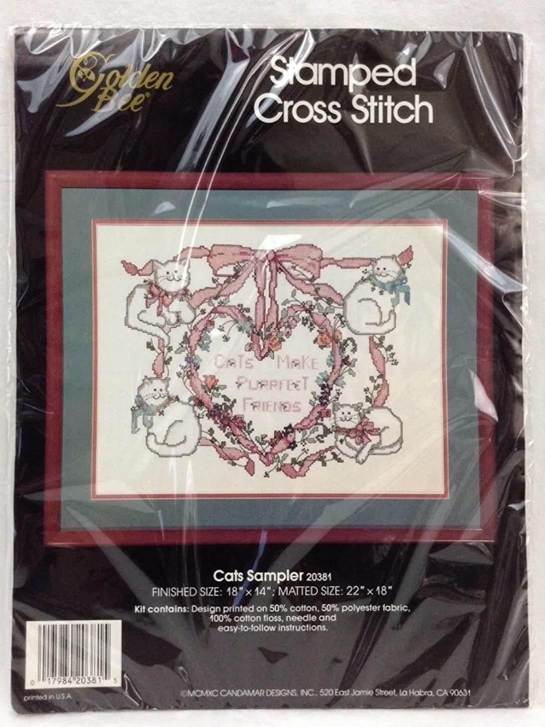 Golden Bee Stamped Cross Stitch Cats Sampler 18x14