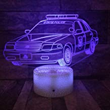 3D Night Light 3D LED Police car Mock-up lamp Children Adjustable Colorful Music Lights for Friend Holiday Christmas Gifts