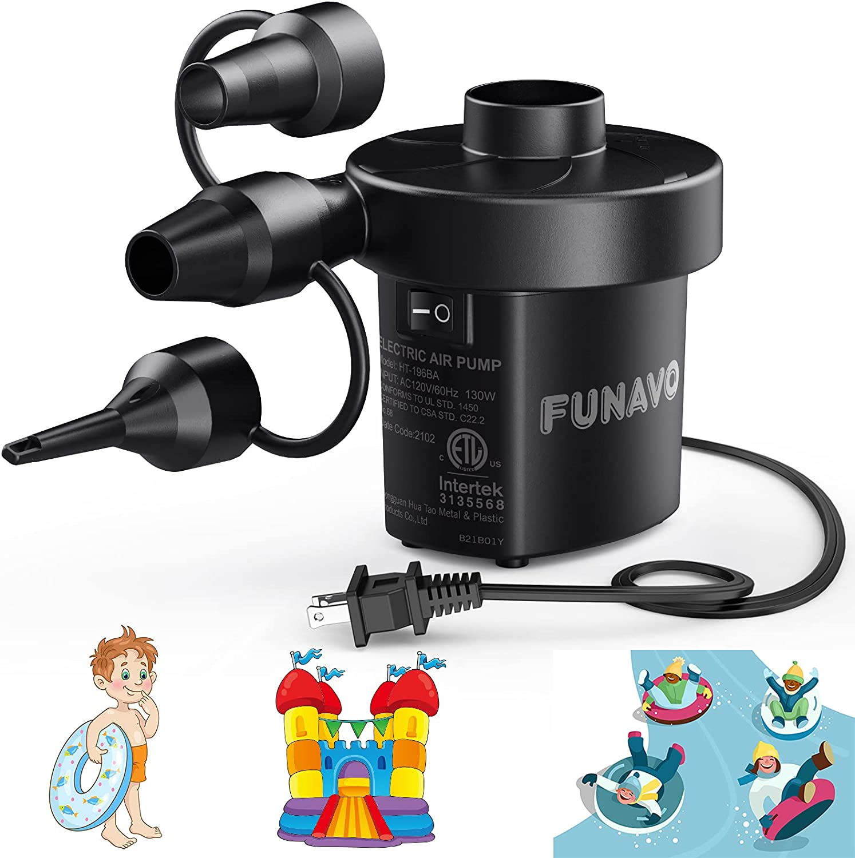Funavo 130W  3 Nozzles Electric Air Pump  $10.39 Coupon