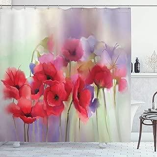 Ambesonne Flower Shower Curtain, Poppy Flowers Blur Spring Floral Seasonal Romantic Illustration Print, Cloth Fabric Bathroom Decor Set with Hooks, 70