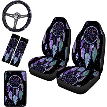 UNICEU Boho Dragonfly Dream Catcher Auto Seat Covers Full Set of 2 Universal fit for Vehicles Sedan and Jeep