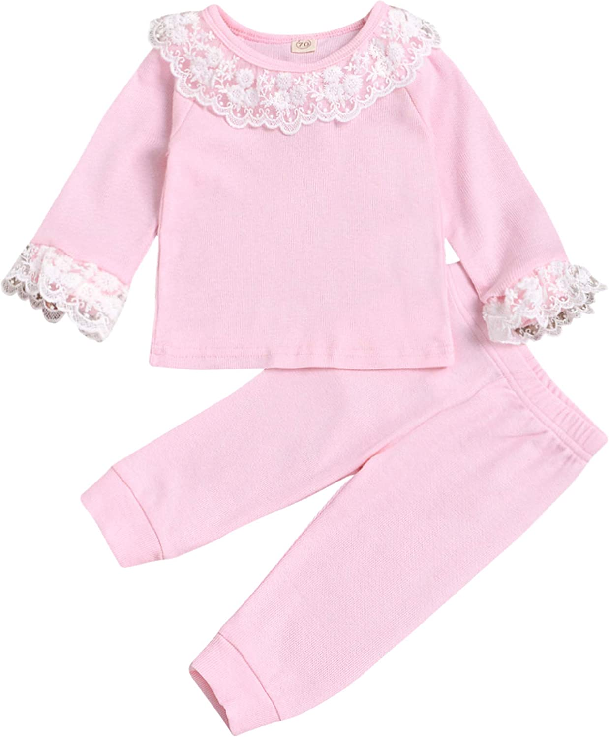 Limited time for free shipping 0-24M Lace Trim Ranking TOP15 CollarSleeve Long Pants T-Shirt Sleeve Win