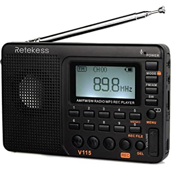 Retekess V115 Portable AM FM Radio with Shortwave Radio MP3 Player Digital Record Support TF Card Sleep Timer and Rechargeable Battery (Black)