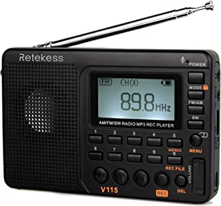 Retekess V-115 Radio AM/FM Stereo with Portable Shortwave Transistor MP3 Player REC Voice Recorder Support T-Flash Card an...