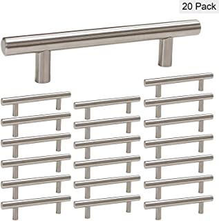 homdiy Kitchen Cabinet Hardware Brushed Nickel Cabinet Pulls 20 Pack - HD201SN 4.5 in Hole Centers Cabinet Handles Metal Drawer Pulls for Bedroom Wardrobe and Drawers