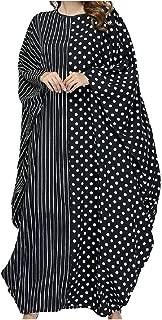 Zimaes-Women Polka Dot Batwing Sleeve Stripe Kaftan Abaya Long Dress