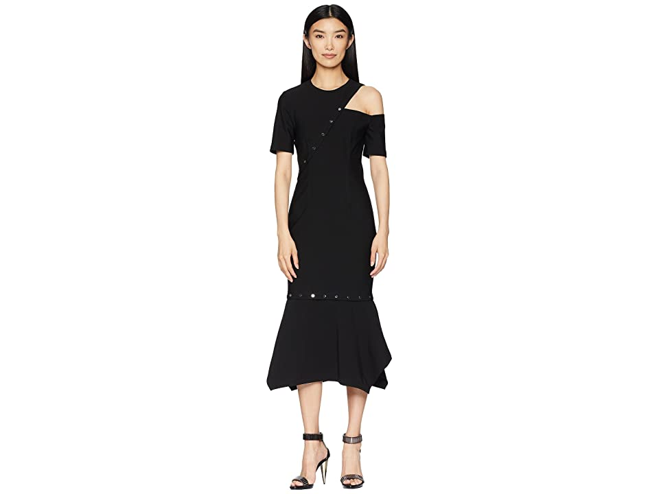 YIGAL AZROUEL MS Dress with Cut Out Snap Detail, Removable Hem (Jet) Women