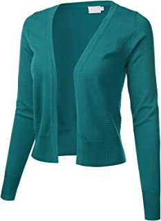 Women's Cropped Open Front Bolero Shrug Long Sleeve Knit Cardigan (S-XL)