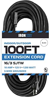 100 Ft Black Extension Cord - 16/3 Durable Electrical Cable - Great for Christmas Lights