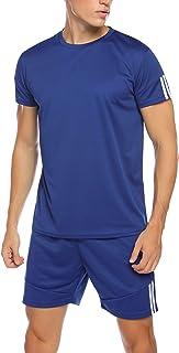 Hawtion Men's Sport Active Tracksuit Short Sleeve Striped Running Jogging Outfit Set