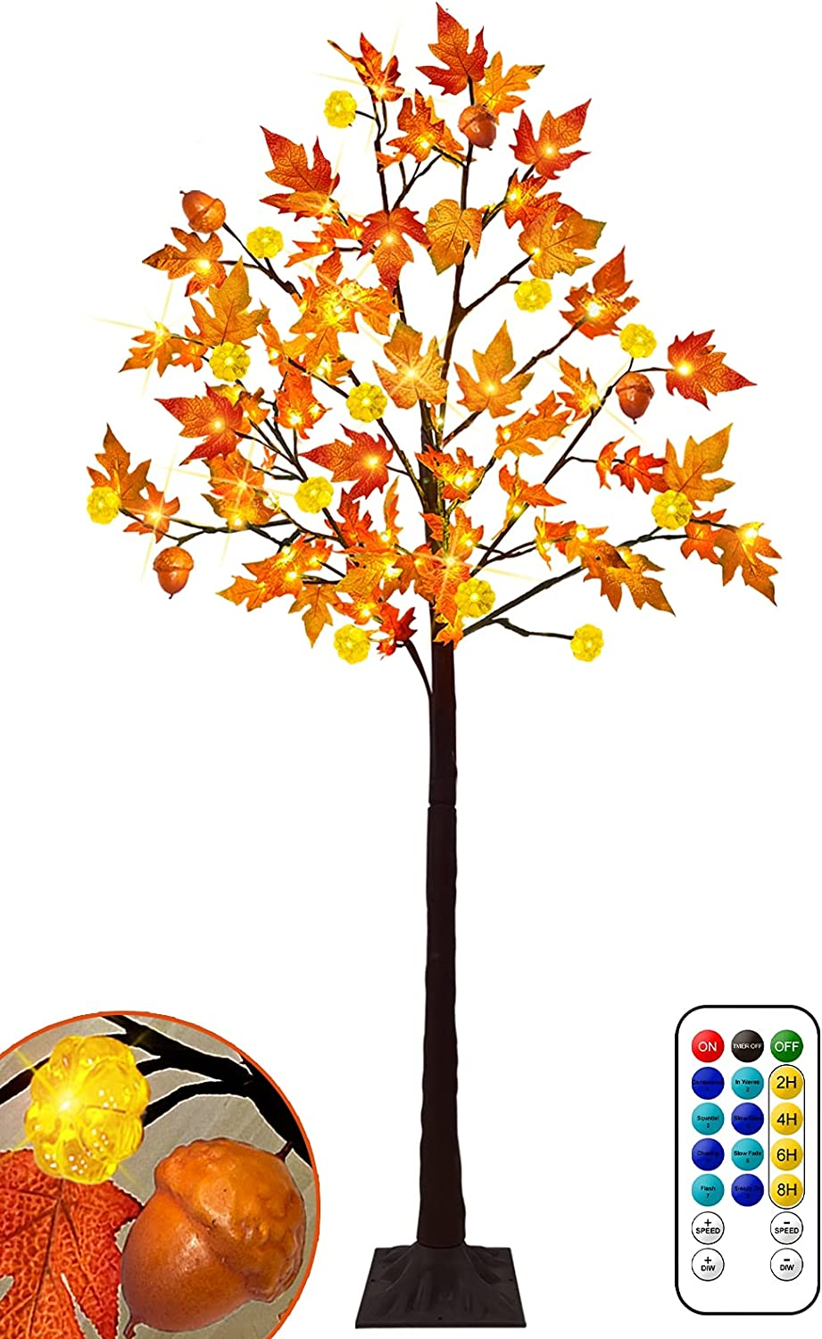 6Ft Tall Prelit Fall Maple Tree Decor, 117LED with 12 Pumpkins & Acorn & Timer 8 Flashing Mode Remote Control Artificial Maple Tree Fall Decor Home Indoor Outdoor Halloween Autumn Thanksgiving Decor