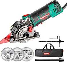 "Mini Circular Saw, HYCHIKA Compact Circular Saw Tile Saw with 3 Saw Blades 4A Pure Copper Motor, 3-3/8""4500RPM Ideal for W..."