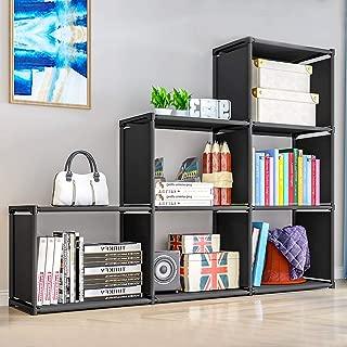 "9 Storage Cubes, DIY Storage Shelves, Closet Organizer Cube Organizer Bookcase Bookshelf for Kids, Home Furniture Clothes Cabinets, for Bedroom Living Room Office (Black-6cubes, 41.3""11.8""43.3"")"