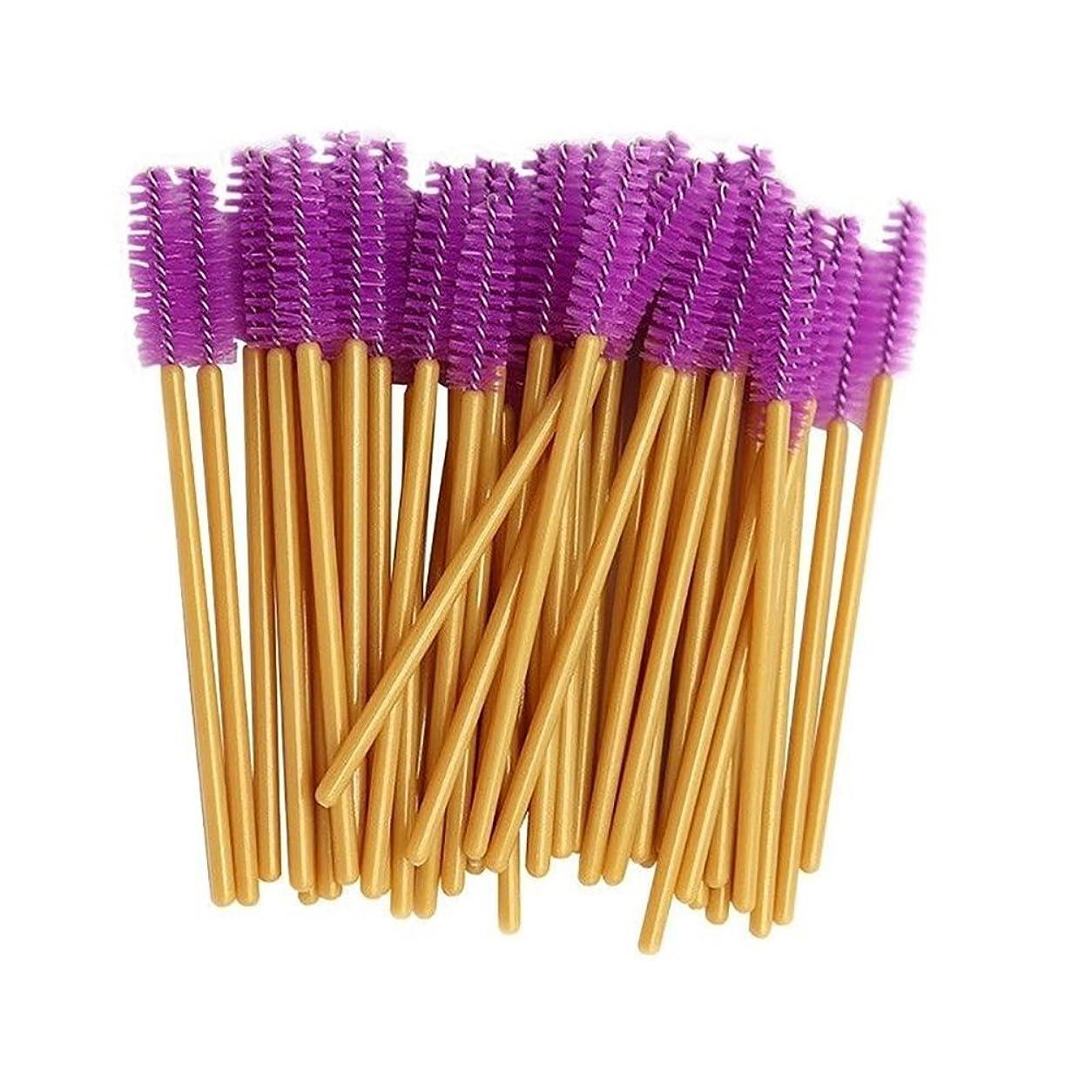 修士号組み立てる樹皮LUOSAI メイクアップブラシ、50個使い捨てマスカラワンドまつげブラシアプリケータ化粧道具ポータブル - ゴールデン+ブラック (Color : Golden+Dark Purple)