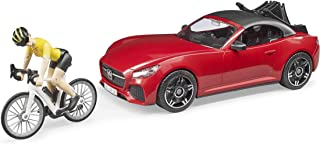 Bruder Toys - Recreational Realistic Roadster Car with Bicycle Rack and Road Bike with Female Cyclist Figure - Car Roof is...
