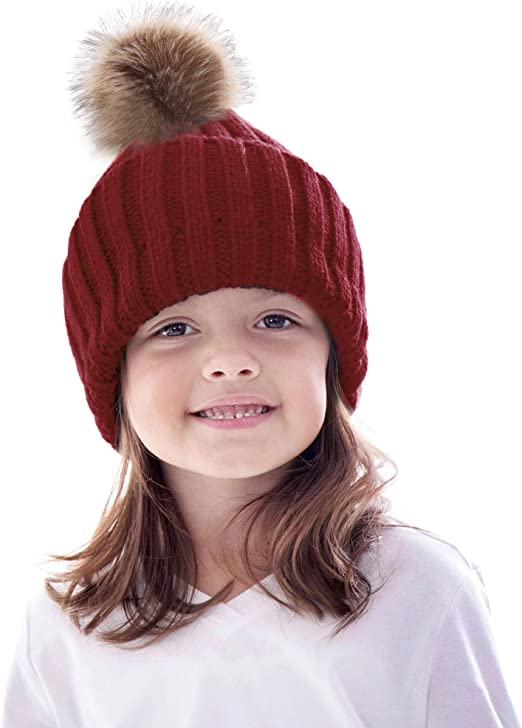 Kids Baby Boys Girls Cable Knitted Hat Winter Warm Fluffy Pom Pom Beanie Caps