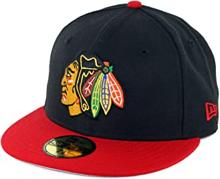 reputable site 5d082 57db2 New Era 5950 Chicago Blackhawks Fitted Hat (Black Scarlet Red) Men s NHL Cap